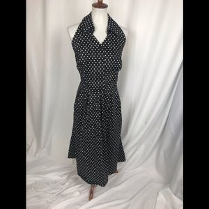 Lane Bryant Black and White Polka Dot Halter Dress